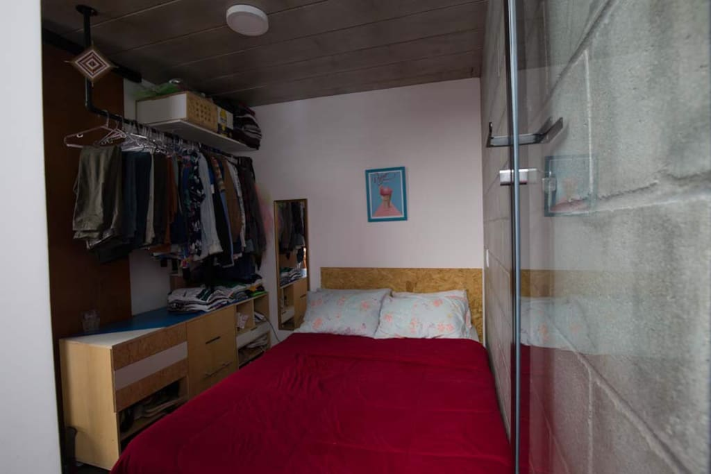 Double bed room with hanger