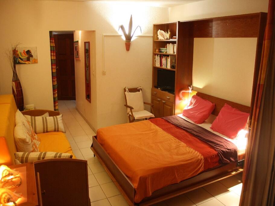 Chambre avec lit escamotable ouvert en 160 cm grand confort