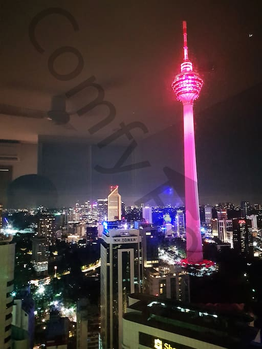 KL tower view from the bedroom and living room