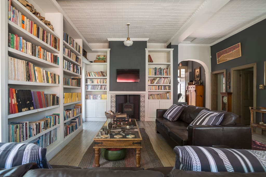 Lounge area with bookshelves