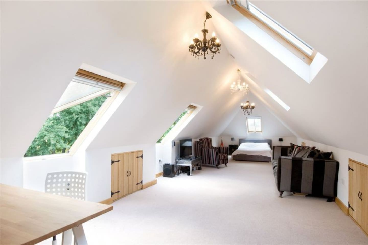 Spacious open plan space with views