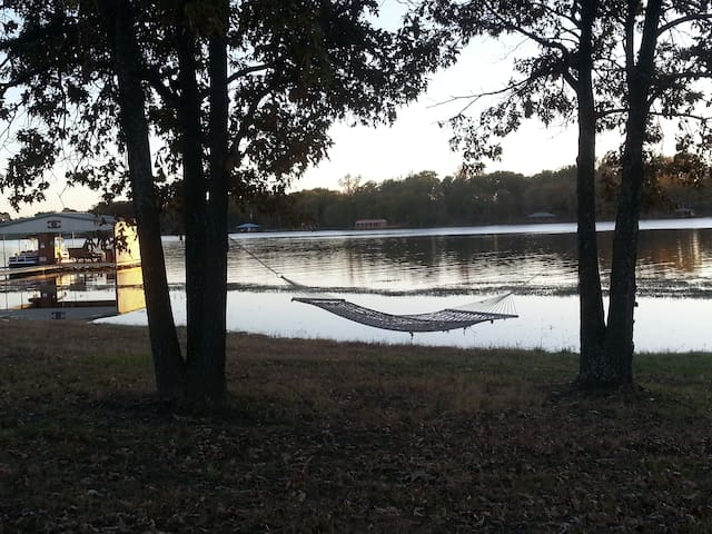 One of many hammocks on the ranch overlooking Lake Fork.