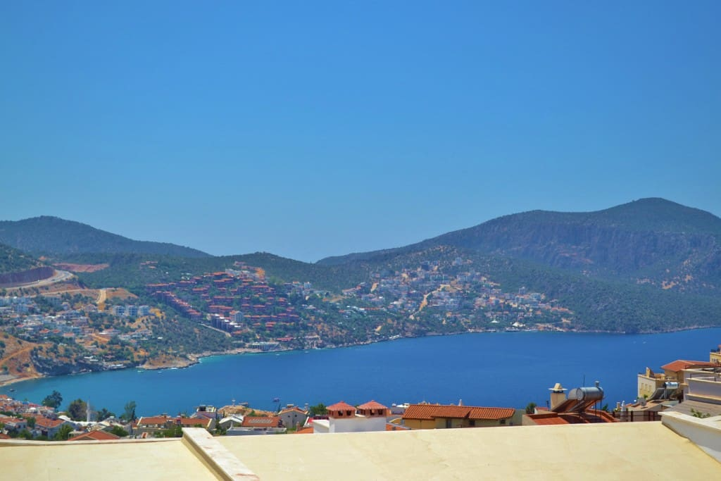 View from the top terrace whilst enjoying a cool glass of wine as the sun sets over Kalkan bay!