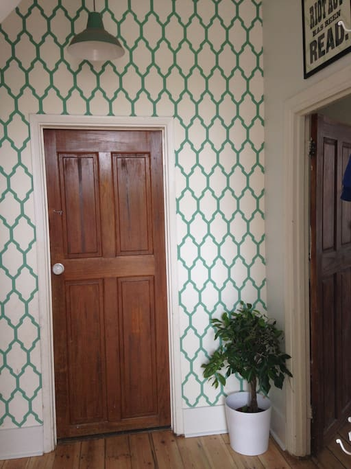 Entrance hall with Farrow and Ball hand-painted wallpaper