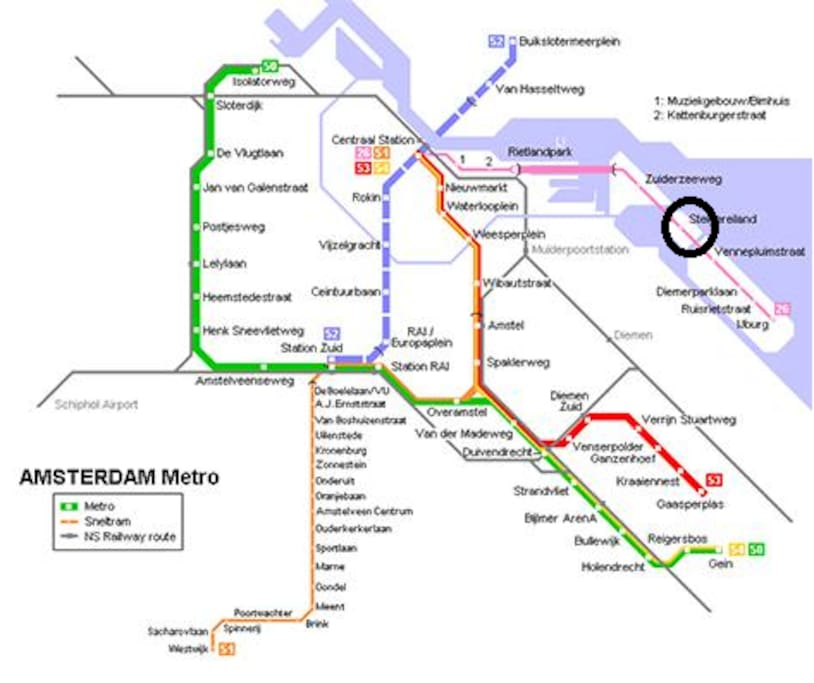 Tram/Bus to Amsterdam Central (tram stop 3 minutes walk) it takes 15 minutes by tram to City Center