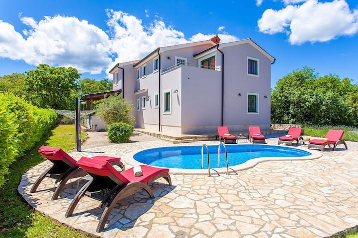 Modern holiday house KRAS with heated pool