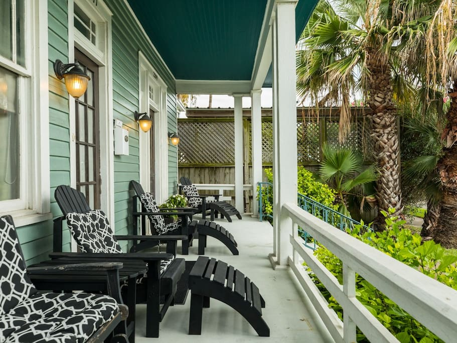 Relax on the porch as a group while feeling the coastal breeze.