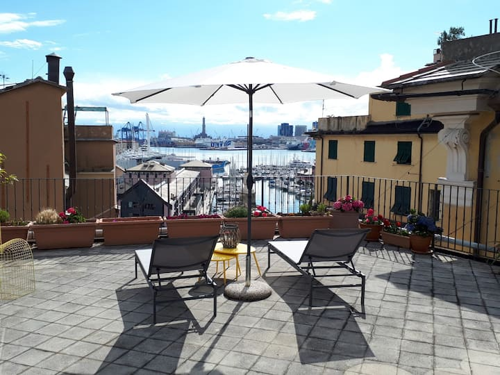 Old Genoa apartments- Terrace- seaview-acquarium