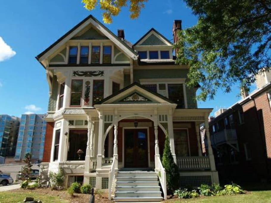 This is Prosper!  It's a Queen Anne styled mansion and a piece of Milwaukee history.  The guest flat is located at the garden level and the private entrance is around back.