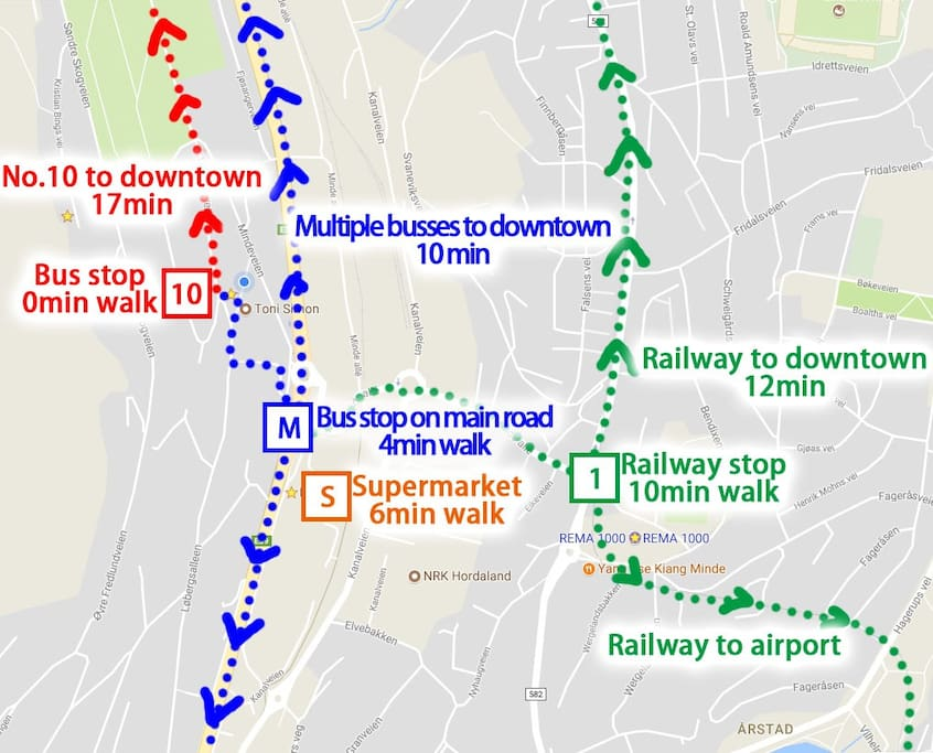 3 ways to get to downtown, the red, blue and green way.