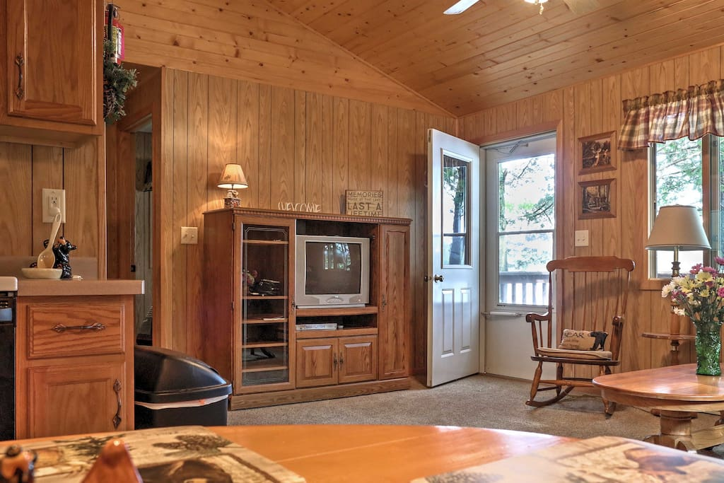 Inside you'll find lodge-themed decor, homey accents, and rustic furnishings.