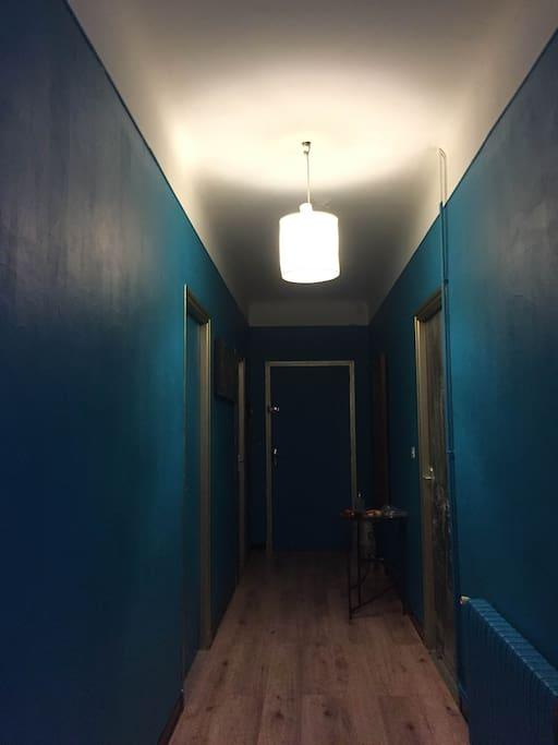Grand couloir distribuant la salle de bain au fond et les toilettes séparées, le salon et les trois differentes chambres