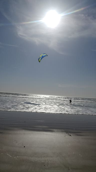 Late afternoon kitesurfing