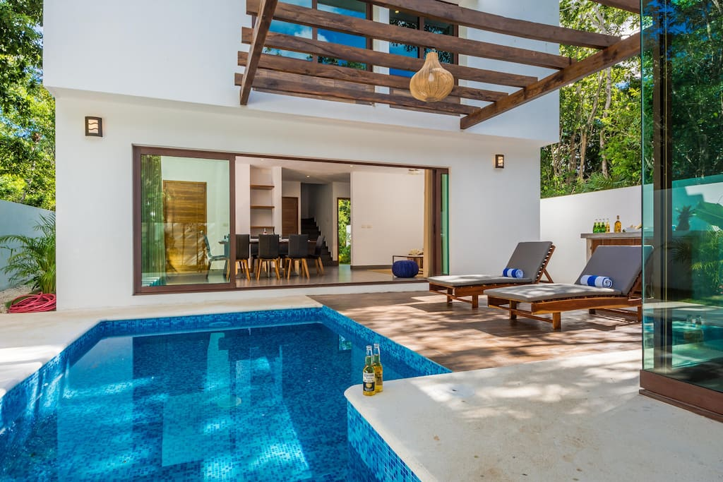 Enjoy the soothing sights and sounds of the jungle in the privacy of your private pool