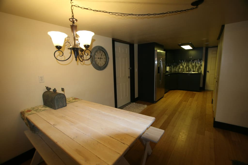 Dining + Kitchen with Full Fridge