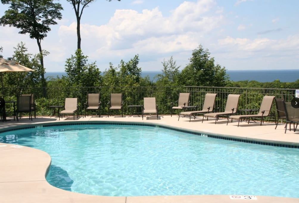 One of 3 beautiful outdoor pools with sweeping views of Green Bay!