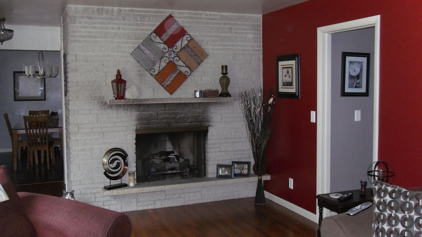 Fireplace in living room to relax in.