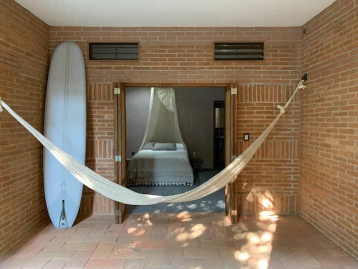 Hotel Bendita Luna Mazunte cama matrimonial
