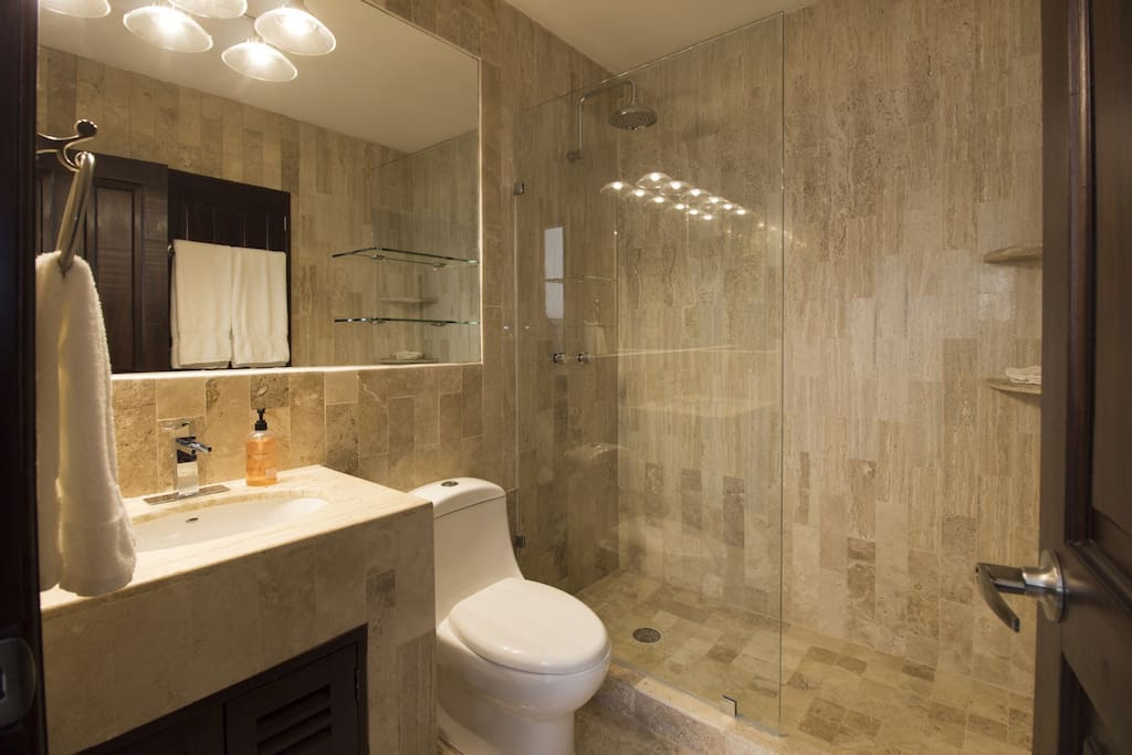 Newly renovated attached private ensuite bathroom with tile shower