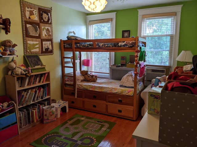 Bright, cheerful children's room with bunkbed