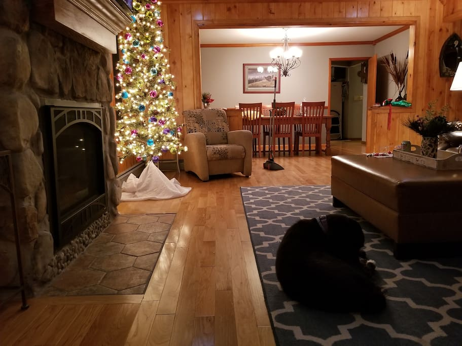 View into the front room and dining room in winter