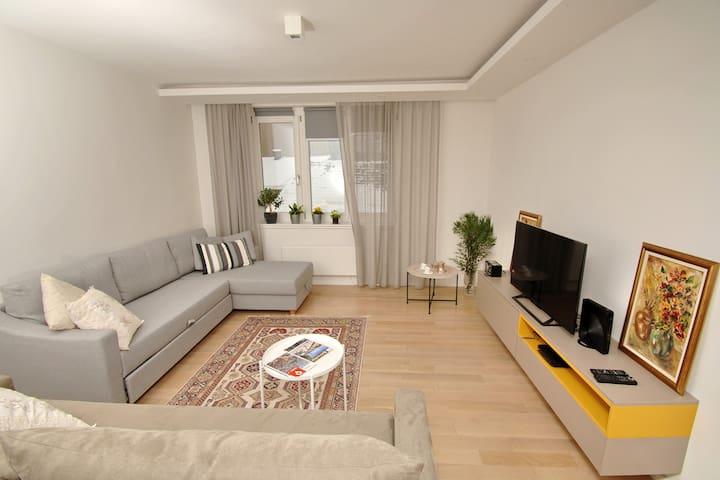 A cozy Living room in a modern Bosnian stile