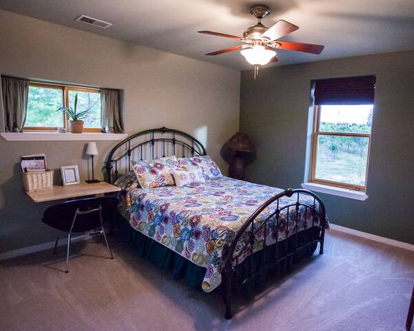 Sage Bedroom: upstairs, queen bed with adjacent full private bath.