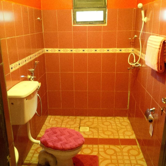 Our shared spacious lovely bathroom with hot shower and essentials like toilet sprays, toothpaste, towels and hand towels for our guest.