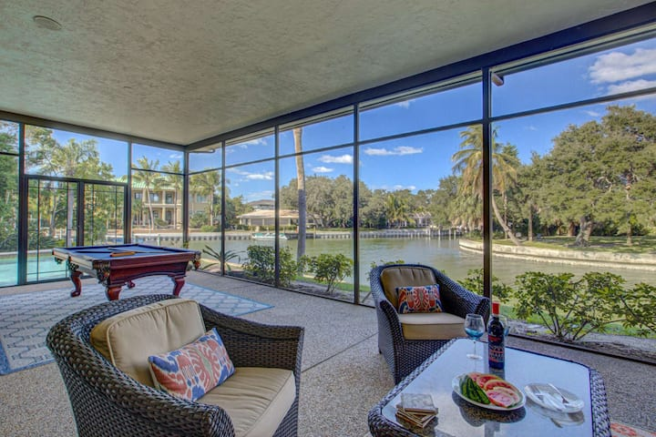 New Listing!  Siesta Key Canal Home, Private Pool, One Dog Allowed, WiFi/Steaming, Spacious!