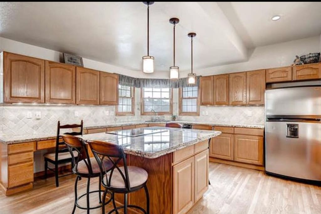 Shared kitchen. Used by our family of 5. Feel free to use any of our dishes and refrigerator!