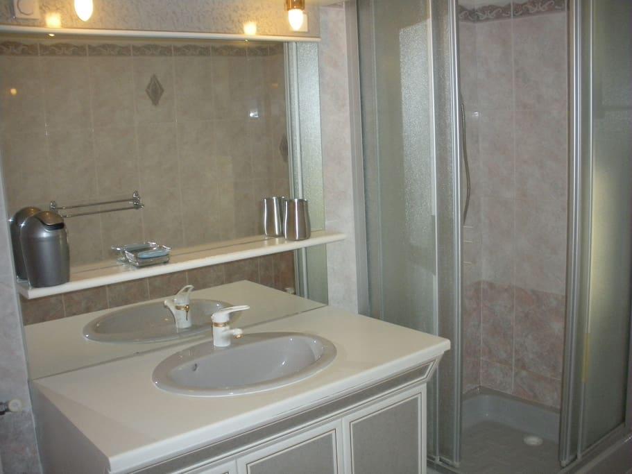 Salle de bain avec bidet. WC indépendant.