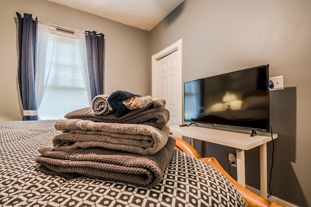 "Your room includes a closet, desk and 43"" smart TV with Netflix."