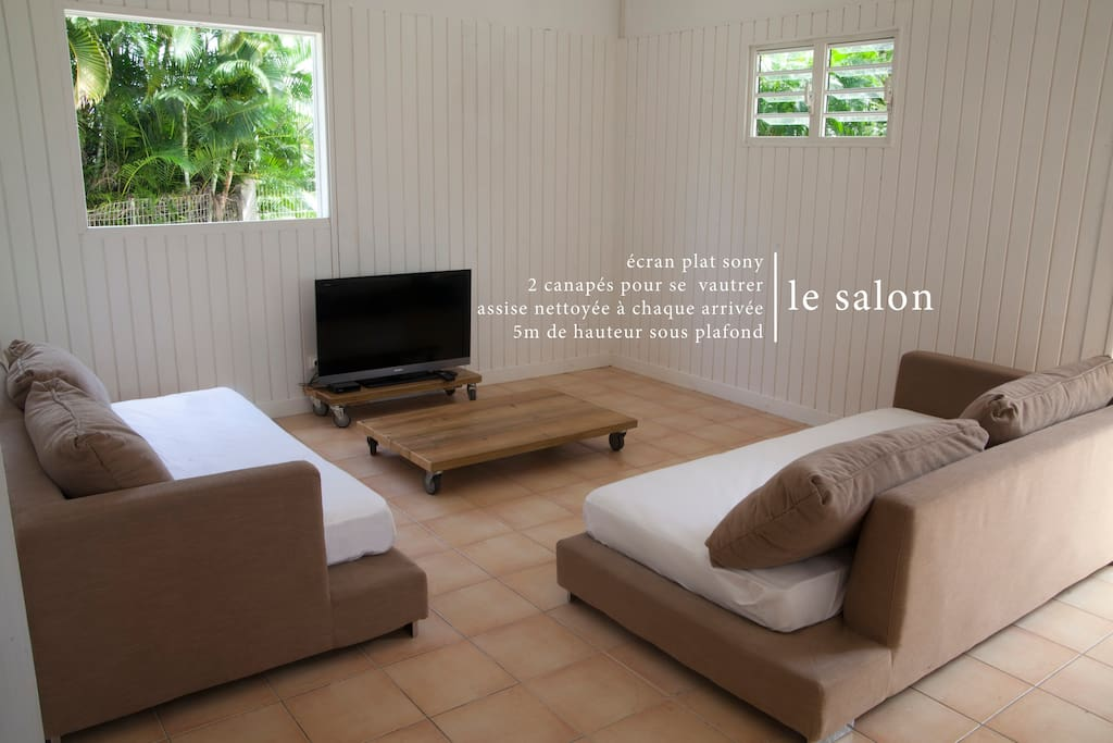 Un salon climatisé aux lignes simples avec 2 canapés-lits qui sont de véritables lits une place dotés de véritables matelas.