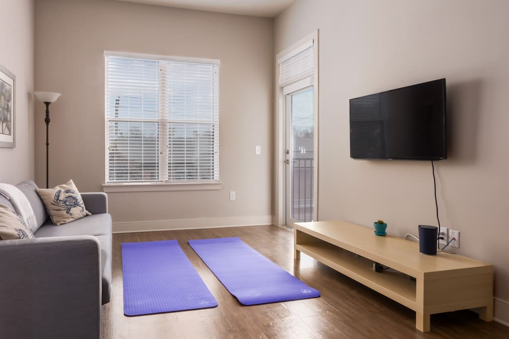 The space can convert into a private yoga space.
