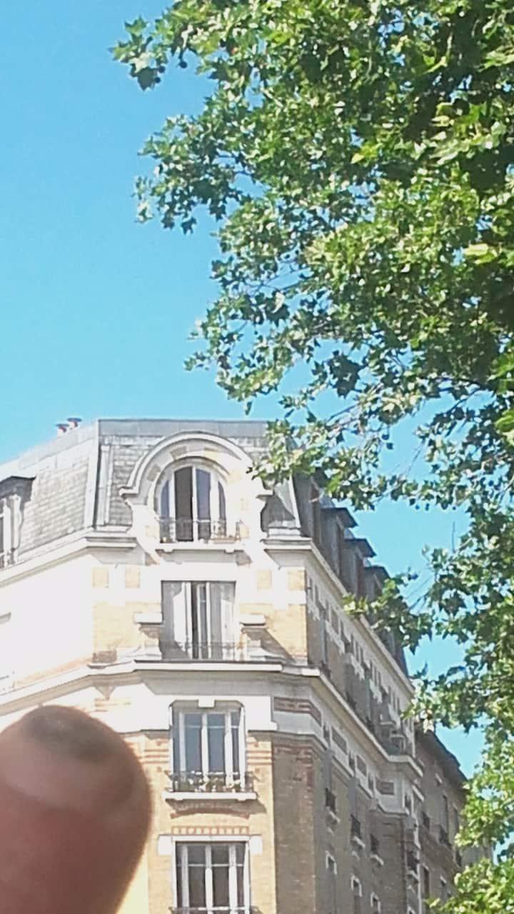 Chambre, lit double, SdB. Métro, commerces, Paris