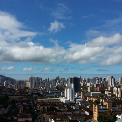 APÊ Decorado Ar wifi Piscina Vista Livre Santos-SP