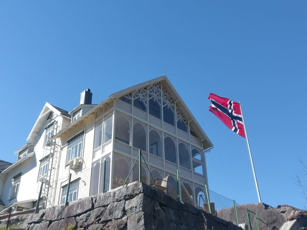 The big historical house on the top of the hill. Vikinghaug apartments.