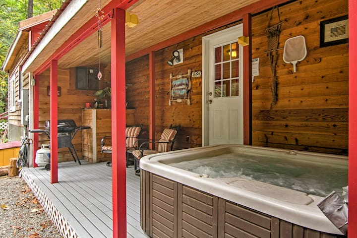 Soothe your senses in the private hot tub.
