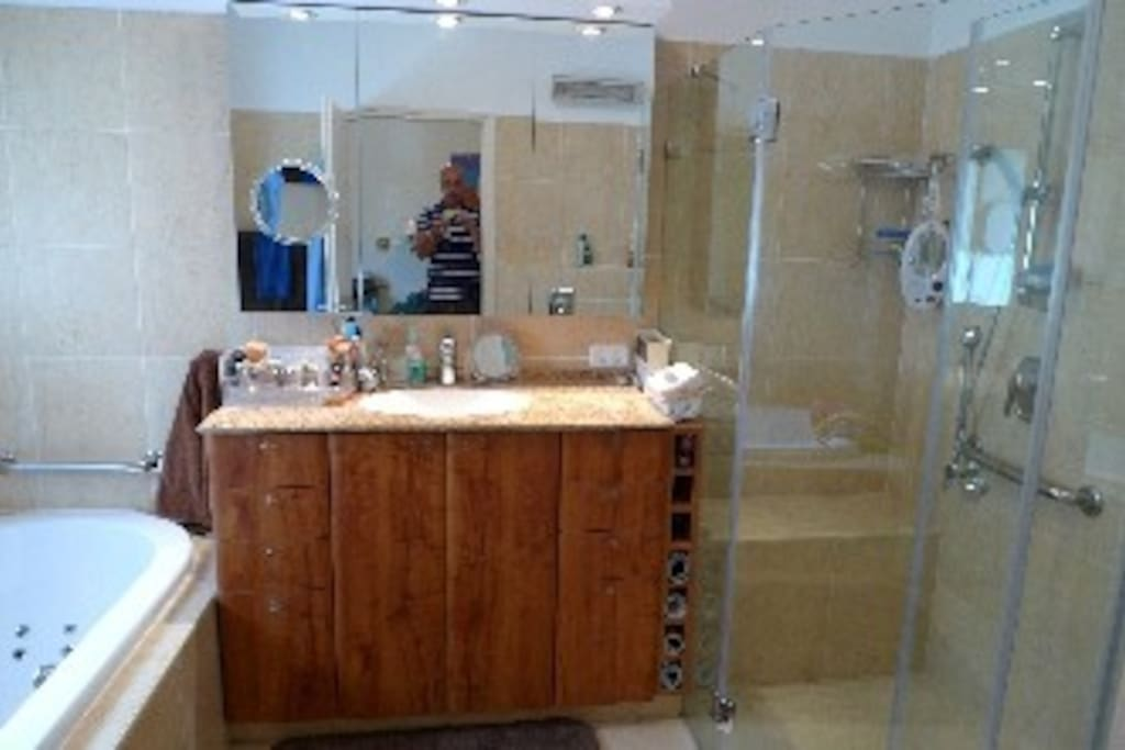 Master bathroom with shower and jaccuzzi