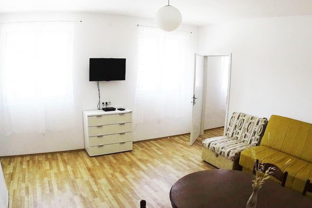 TV set and the door into the bedroom