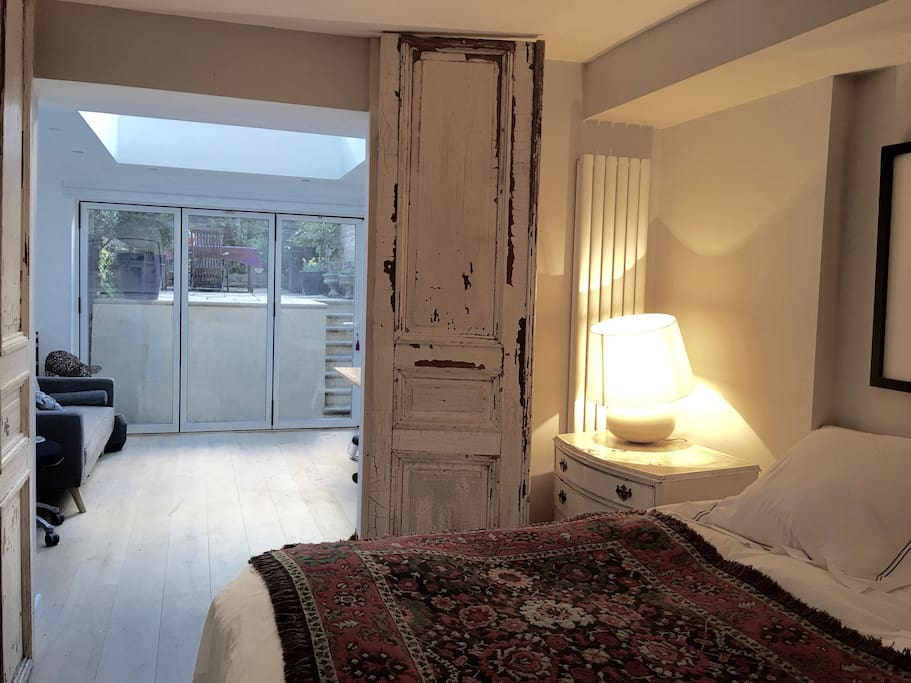 Master Bedroom with French doors that can shut it off