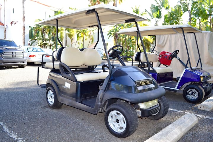 The villa includes one 4-person golf cart