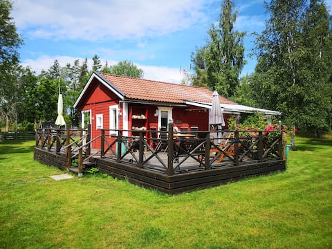 Classic summer cabin on the swedish countryside