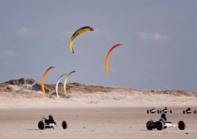 At beach IJmuiderslag you can join a workshop Kitebuggy driving, or on a  Kite('skate')board