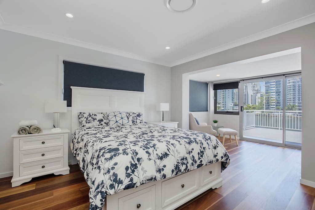 Upstairs master bedroom with water view room no six