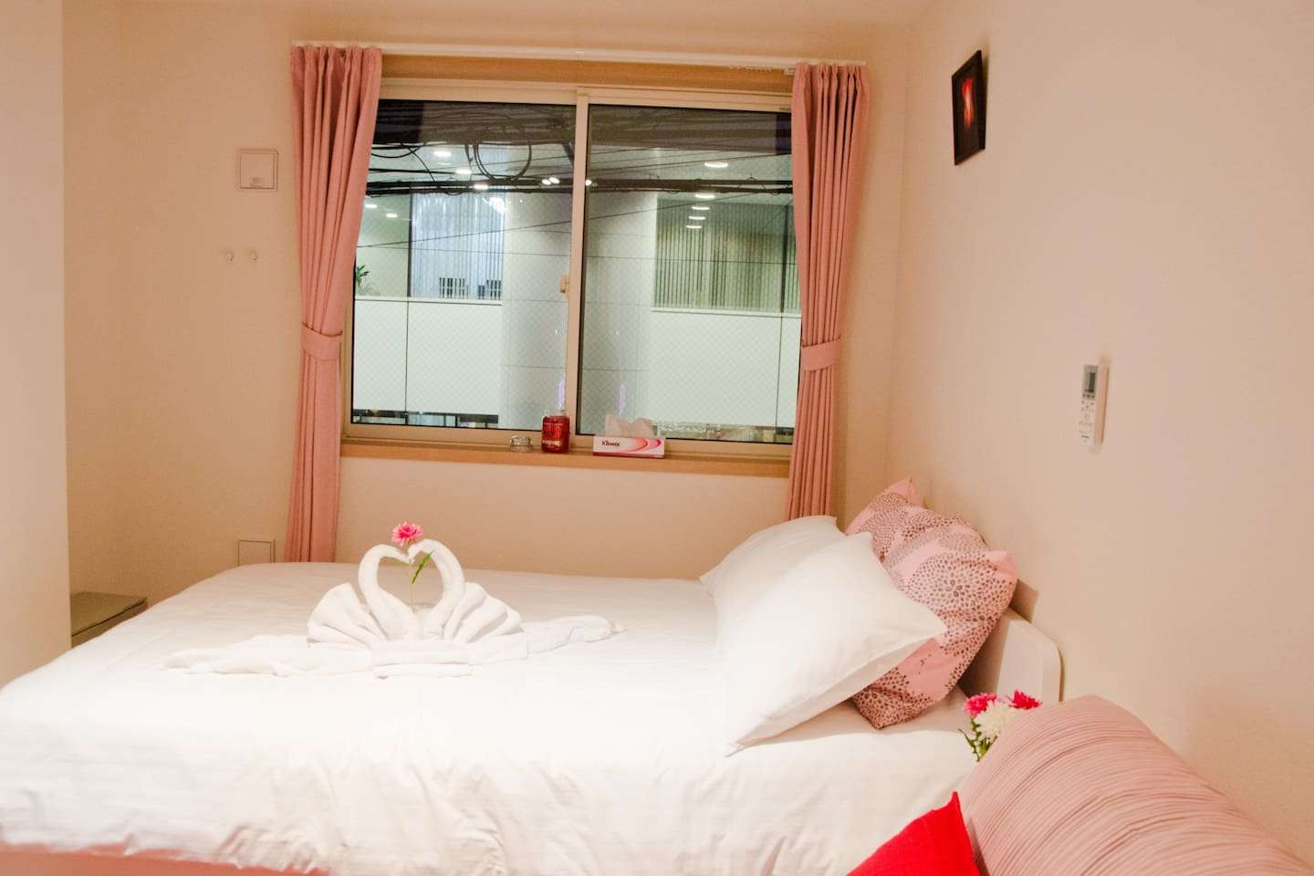 Size of the room 24m2 Bed and sofa bed are both double bed