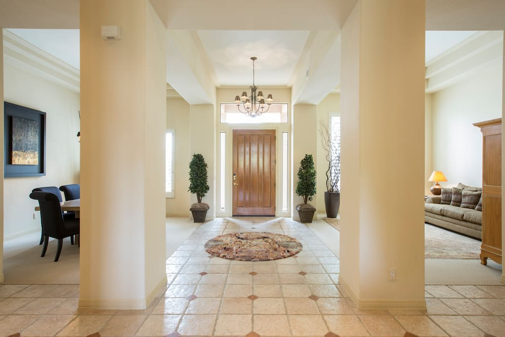 Entrance with dinning room and living room