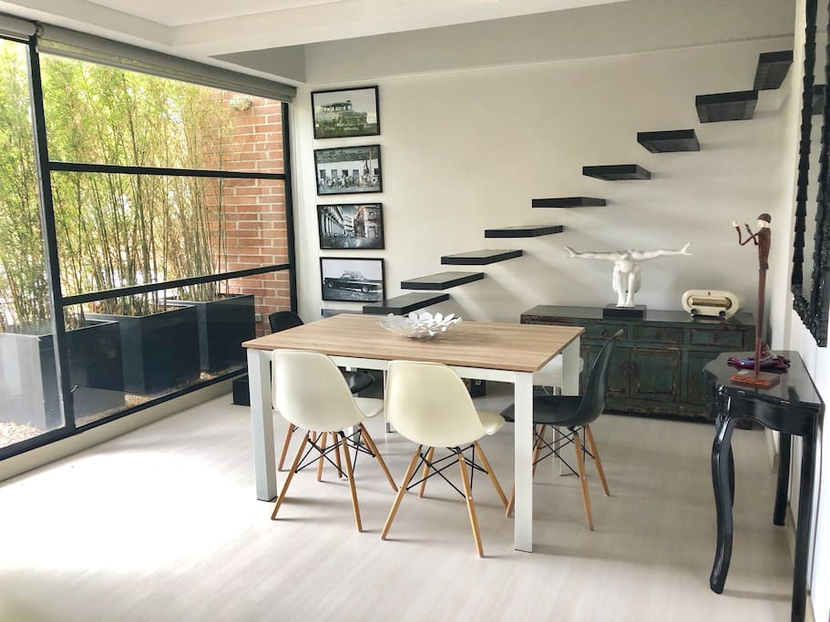Beautiful design duplex, decorative staircase with black leather cover