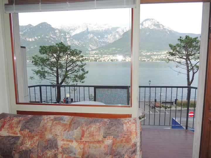 Beach & Grigna Mountain, lake Como