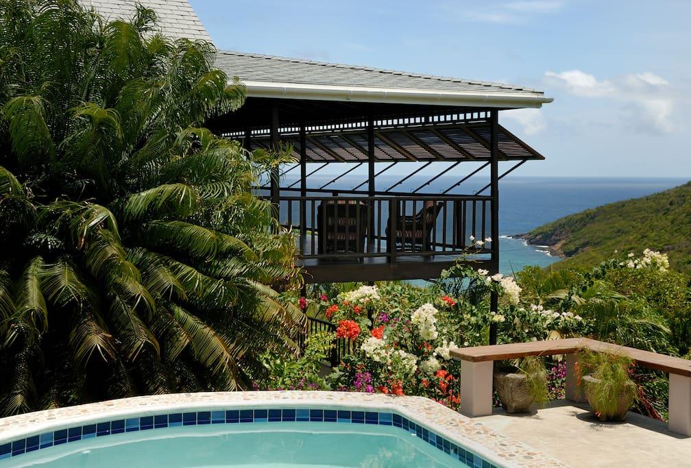 Views over the verandah to the ocean